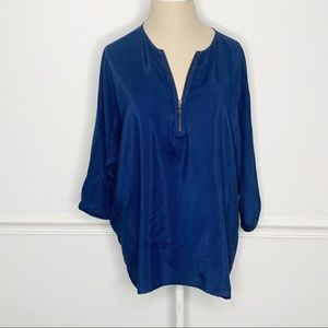 Vince 100% Silk Zipper Front Navy Blouse Small